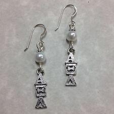 Alpha Xi Delta Sorority Lavaliere Earrings FREE SHIPPING, AXD sterling earwires