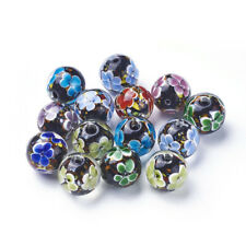 5 pcs Handmade Lampwork Millefiori Glass Beads Crafts For Jewelry Making 14~15mm
