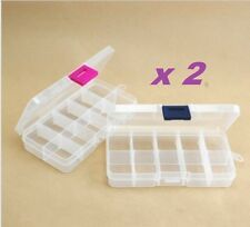 2pcs 10 Slots Grids Adjustable Jewelry Storage Box Pill Beads Case Organizer