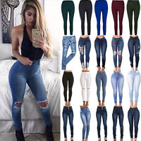 Women Stretch Skinny Denim Jeans Slim Jeggings High Waist Pencil Pants Trousers