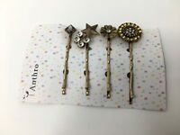 Details about  /NEW Anthropologie Large Rhinestone Turquoise Hair Bobby Pins Vintage Style
