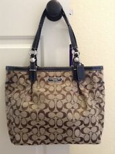 NEW COACH SIGNATURE COLLECTION BROWN WOVEN JACQUARD FABRIC MEDIUM TOTE-ZIPPER CL
