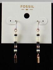 Fossil Brand Two Tone Black White Beaded Linear Drop Earrings JOA00361 $44