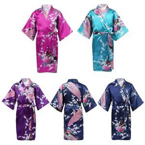 Kids Boys Girls Bathrobe Satin Kimono Robe Sleepwear Spa Party Nightgown Pajamas
