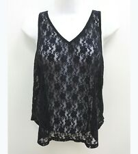 NWT Hollister Womens Small Tank Top Navy Blue Lace Front Sheer Back V-neck  P17