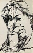 Ernesto Garcia Peña. Painting. Untitled, 1978. Original signed. Ink on cardboard