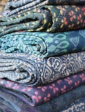 Indigo Kantha Quilt Vintage Throw 100%Cotton Handblock Print Reversible Lot 5 Pc
