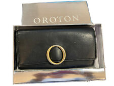 Oroton Eneeavour Slim Clutch Purse Wallet Black Leather