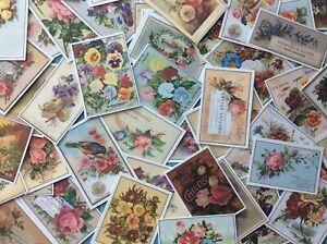 Junk Journal Ephemera 20 Vintage Tea Card Floral Advertising Shabby Rose Flowers