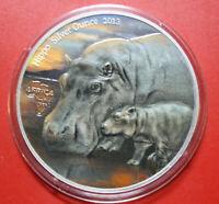 """Kongo: 1000 Francs 2013  """"Nilpferd-Hippo"""" F#3269, 1 Uz/Oz COA Nur 500 Stück"""