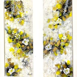 Abstract painting, set of 2 paintings, multi panel painting on canvas,