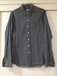 Levi's Mens Navy Button Front Shirt Long Sleeve Size S Good Condition