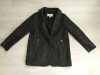 QUIZ B&W QUIRKY TWEED & FAUX LEATHER WOOL BLEND WARM WINTER COAT SIZE 14
