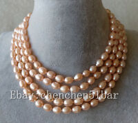 kultiviert 7-8mm rosa Reis barock Süßwasser Perle lange Halskette 60 Zoll