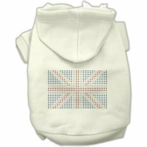 """Mirage Pet Products WHITE CAT Dog Hoodie 10"""" BACK Jumper Studs UNION JACK"""