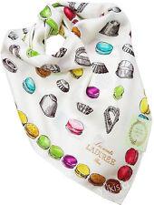LADUREE Paris Japan Timbales Moules Macaron Cream Color Large Cotton Scarf-59cm