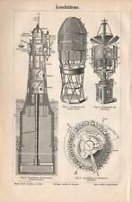 1895. OLD LIGHTHOUSES. Antique print
