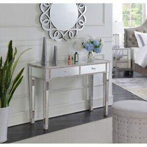 Convenience Concepts Gold Coast Desk Vanity, White/Mirror - 413372WW