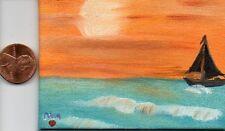 ACEO 2.5x3.5in Orig Art Oil Painting Dollhouse Sail Boat Ocean Sea  Nova Hart