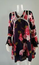 Entro Size Small Red Blue Floral Bell Sleeve Dress Short