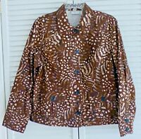 Chico's Brown Animal Print Button Front Jacket size 2 Large ~ Pockets