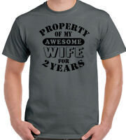 My Awesome Wife Mens Funny 2nd Wedding Anniversary T-Shirt Gift 2 Year Husband