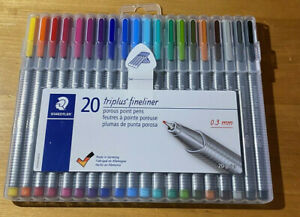 Staedtler Triplus Fineliner 20 Pack Porous Fine Point Marker Pens - Brand New!