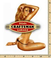 CRAFTSMAN TOOL STICKER DECAL 1950 GIRL SEXY MECHANIC TOOLBOX SIGN CHEST USA