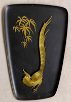 Vintage Germany Brass Plate Pheasant Bird Carved Tin Art Hang Wall Decor Tray