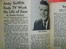 ANDY GRIFFITH 1961 St Louis TV guide February 12 Sid Caesar Brigitte Bardot