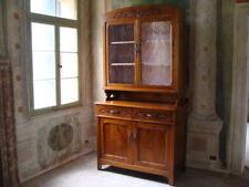 Credenza mobile con vetrina in legno massello intarsiato restaurata Villa Veneta