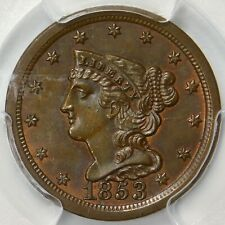 💚CAC💚 PCGS MS63 🔥RB 1853 BRAIDED HALF CENT