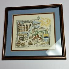 Arizona Finished Cross Stitch Framed Completed Landmarks Hot Air Balloon Cactus
