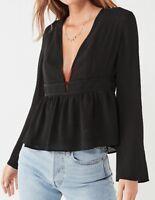 Urban Outfitter Deep V Open Back Blouse~ Black~ Reg $59