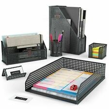 ARTEZA Desk Organizer, Black Mesh, 6 Piece Set