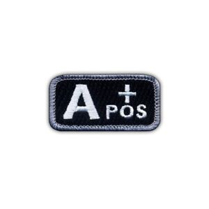 """Blood type A """"pos"""" black/white Embroidered PATCH/BADGE"""