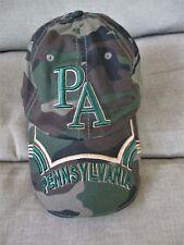 Hat / Cap-  Pennsylvania Heavy Embroidery -Green Camo-U S A Flag Side