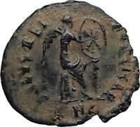 AELIA FLACILLA Theodosius I Wife 383AD Ancient Roman Coin VICTORY CHI-RHO i67708