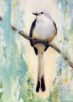 ACEO Print my orig oil painting Scissortail bird art Card ATC animal sweet