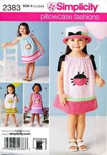 SIMPLICITY SEWING PATTERN 2383 TODDLERS/GIRLS SZ ½-4 EASY DRAWSTRING DRESS & HAT