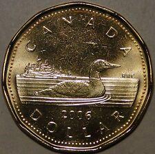 BU UNC Canada 2006 loonie M logo $1 dollar coin from mint roll