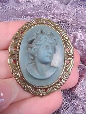 Cameo scrolled Brooch pin Pendant jewelry (cs52-1) Full face Women blue oval