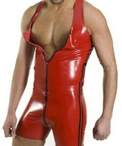 Red Mens PVC Catsuit Bodysuit Zip Sleeveless Clubwear Stag Do Costume Singlet
