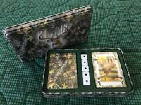 Rivers Edge Mossey Oak Deer tin w/2 unopened decks playing cards and 5 dice hunt