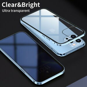 Magnetic Privacy Double Glass Case Cover For iPhone 13 Pro Max 12 11 XR X XS 8 7