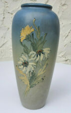 "Weller Pottery 11"" Blue Hudson Line Vase With Daisies Signed Kennedy Antique"