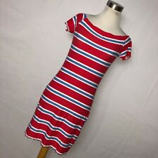 New Ultra Flirt M Medium Dress Bodycon Red White Stripe Cap Sleeve Stretch V2