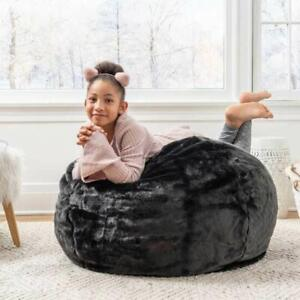 Black Beanbagwala XXXL Size Fur Bean Bag Cover Only (Without Beans)