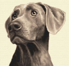 More details for weimaraner dog - full counted cross stitch kit *by jann designs