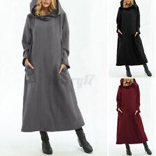 ZANZEA Womens Full Sleeve Sweatshirt Warm Hooded Hoodies Dress Pullover Pockets